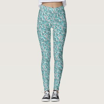 Cute aqua grey seamless floral pattern leggings