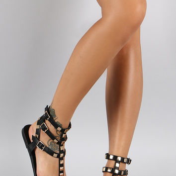 Shoe Republic LA Metallic Studded Gladiator Flat Sandal