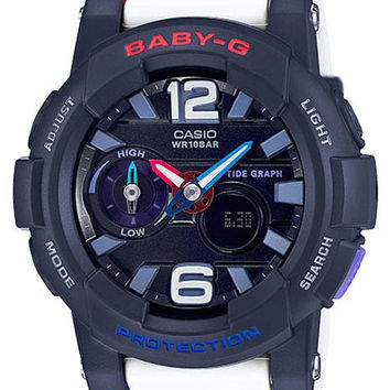 Casio Ladies Baby G - Analog / Digital - Tide Graph Feature - Navy Blue Case