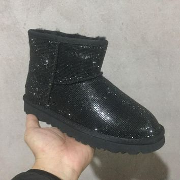 LFMON UGG 5854 Sparkles Diamond Women Men Fashion Casual Wool Winter Snow Boots Black