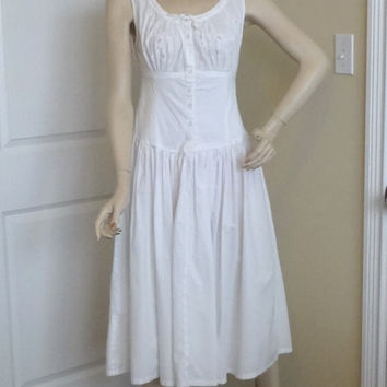 1980s Vintage White Sun Dress by Starina, Size Medium, Boho Beach Wedding Dress, Button Front, All Cotton, Made in India, Vintge Clothing