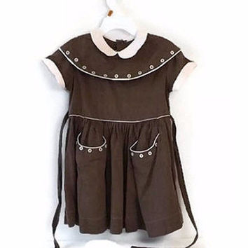 Vintage Mason Line Girl's Small Brown Cotton Dress