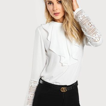 Guipure Lace Sleeve Jabot Top