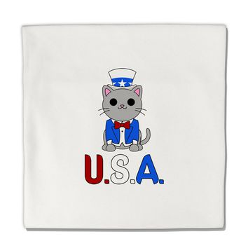 "Patriotic Cat - USA Micro Fleece 14""x14"" Pillow Sham by TooLoud"