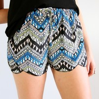 TRIBAL BLACK BLUE AZTEC PRINTS WRAP CROSSOVER BEACH SHORTS 6 8 10 12