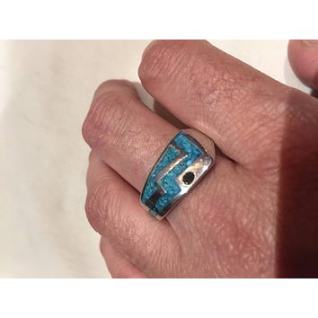 Vintage 1980's Native American Style Southwestern Real Turquoise Stone inlay Mountain Men's Ring