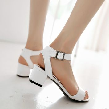 Big size 32-43 high quality 2016 summer fashion women square med heels front & rear strap sandals 3 colors