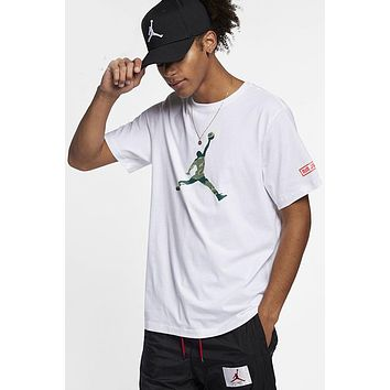 Air Jordan Tide brand men's loose basketball cotton t-shirt white