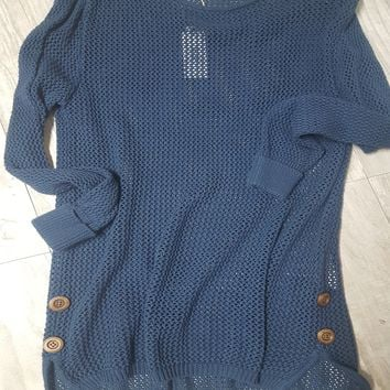 Open Weave Sweater w/Side Buttons in Navy