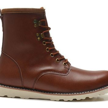 ESBON UGG 3240 Tall Lace-Up Men Fashion Casual Wool Winter Snow Boots Chestnut