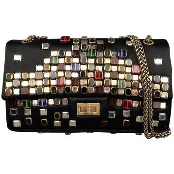 CHANEL Black Byzantine Reissue Gem Studded Silk Shoulder Bag