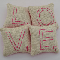 Scrabble Letter LOVE Decorative Pillows - Bowl Fillers - Tucks - White Burlap - Valentines Day - Wedding - Home Decor - Pink Hearts