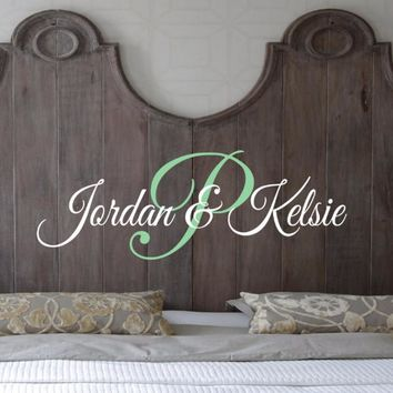Couples Script Monogram Wall Decal