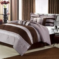 8pc Luxury Bedding Set- Castle Rock Brown/ Beige/ Gray - King Bedding Sets - Bedding by Size - Bed in a Bag | Looking for Bedding in a Bag sets contact BedInABag.com
