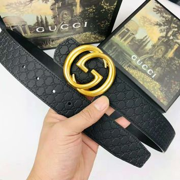 GUCCI new simple classic double G embossed trend smooth buckle belt