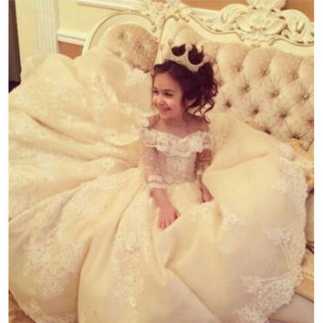 E-Marry Flower Girl Dresses for Weddings with Train Lace Ball Gown Little Girls Dresses White Ivory Wedding Party Dress 2016