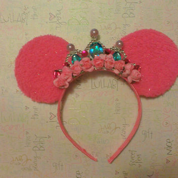 Gorgeous Minnie Mouse Ear Headband with Custom crown all Black made of soft flannel material