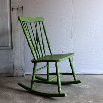 vintage childrens rocking chair small wooden rocker painted green bedroom kitchen furniture PICK UP