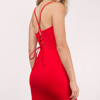 I'm Falling Lace Up Bodycon Dress