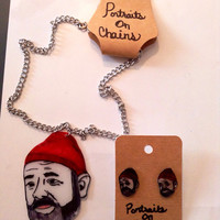 Bill Murray as Steve zissou necklace and earring set