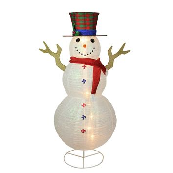 "72"" Pre-Lit Glitter Snowman with Plaid Top Hat Outdoor Christmas Decoration"