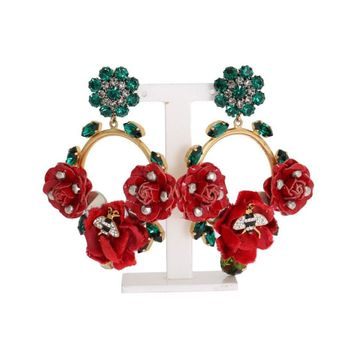 Dolce & Gabbana Gold Brass Roses Floral Crystal Clip Earrings