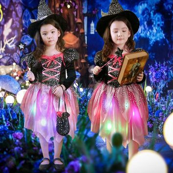 2018 New Kids LED Light Witch Costume Children Girls Cosplay Costumes Halloween