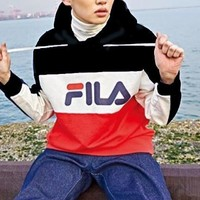 FILA Fashion Women Men Print Contrast Hoodie Shirt B-KWKWM