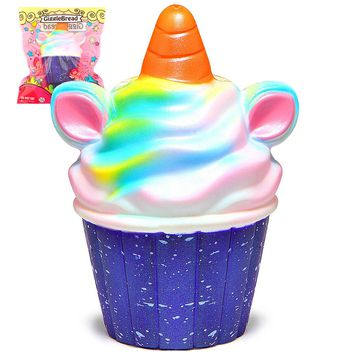 Unicorn Squishy Jumbo Colorful Ice Cream Cupcake Squishies Cream Scented Slow Rising Squeeze Toy Original Package