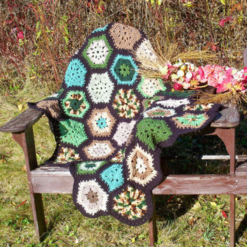 Crochet Hexagon handmade lap afghan, colorful, cozy, comfortable, great for a xmas gift or gift in general