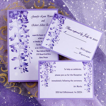 Purple Ombre Wedding Invitations Kits Flower Invites Free Response Card Ewi007