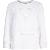 River Island Womens Cream Victoriana embroidered lace blouse