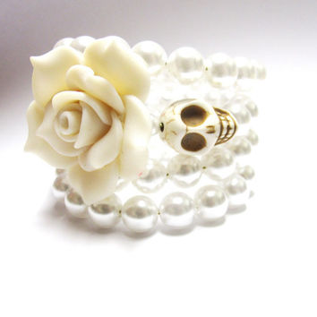 Sugar Skull Bracelet Day Of The Dead Wrap White Rose Wedding Jewelry