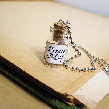 Pirate Treasure Map in a Glass Bottle Necklace - Pirate's Map Cork Vial Charm - Pirates Treasure Hunt Bottled Map