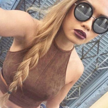 Sexy Women crop tops Femininas Tank Top Brown O-Neck Camisole Casual Vest Sleeveless Backless tank top women SM6