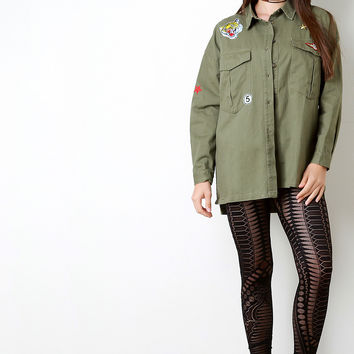 Patched Military Pocketed Denim Jacket