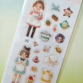 Kawaii dress up doll sticker kawaii cartoon dolly cute sweet little girl lovely little girl sticker dress up doll sticker princess doll gift