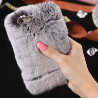 Fluffy Villi Fur Plush Wool Case Cover + PEN + Film For iPhone SE 5 5G 5S 5th