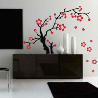 BIG Cherry Tree Decal Wall Sticker Art Sakura Flowers Asian Tattoo Graphic Home Decor