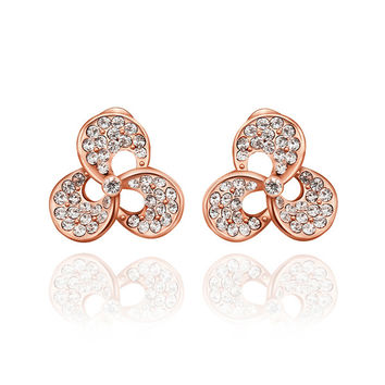 Rose Gold Plated Twisted Leaves Earring