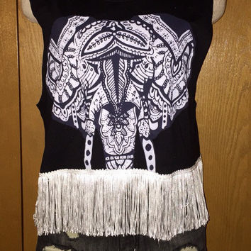 Bohemian elephant fringe tank crop top shirt size small
