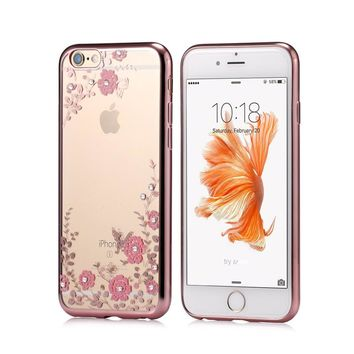 New Luxury Secret Garden Flowers Rhinestone Cell Phone Cases For IPhone 6 6S Plus 5 5S SE 5C 4S Plating Rose Gold Case Cover