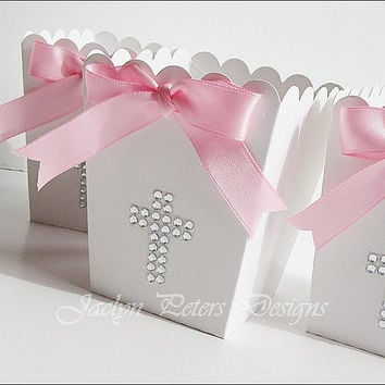 Popcorn Favor Box, Baptism Or Communion, Girl's White With Pink Ribbon Rhinestone Cross, Candy Holder, Dessert Buffet Supply, Set Of 20