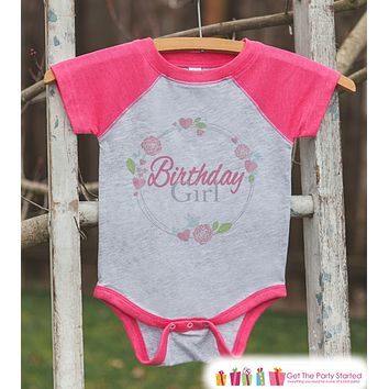 Girls Birthday Outfit - Floral Birthday Girl Shirt or Onepiece - Youth, Toddler Birthday Outfit - Pink Baseball Tee - Kids Baseball Tee