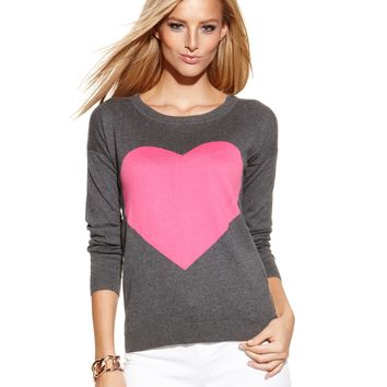 INC International Concepts Petite Long-Sleeve Heart-Graphic Sweater
