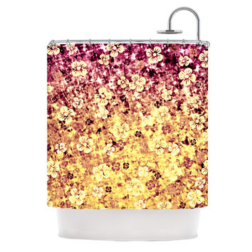 "Ebi Emporium ""Flower Power in Yellow"" Orange Glitter Shower Curtain"