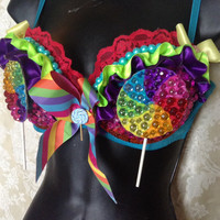 Rainbow Lollipop Top Rave Bra 36c
