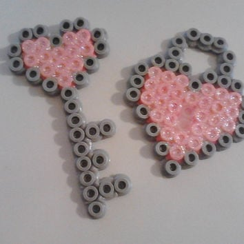 Lock & Key Perler Bead Magnets Set (Gray/Pink)