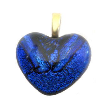 Fused Glass Heart Pendant, Slide Jewelry - One of a Kind - Blue, Large Gold Bail - Smolder  by mysassyglass
