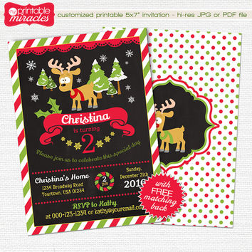 Christmas Birthday Invitation, Winter Magic Reindeer Birthday Invitation Design, Chalkboard Digital Printable Invite, Red Green